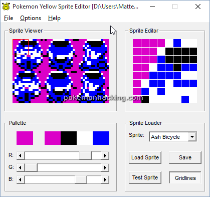 Pokemon Yellow Sprite Editor Screenshots